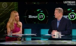 Jeannette Kaplun and Al Gore during the Climate Reality Project's 24 Hours of Reality