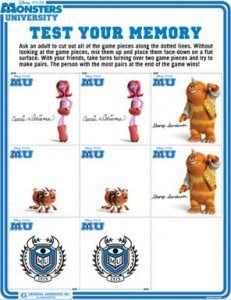 Monsters University free printables