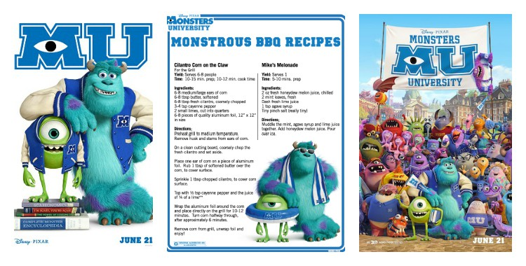Monsters University recipes