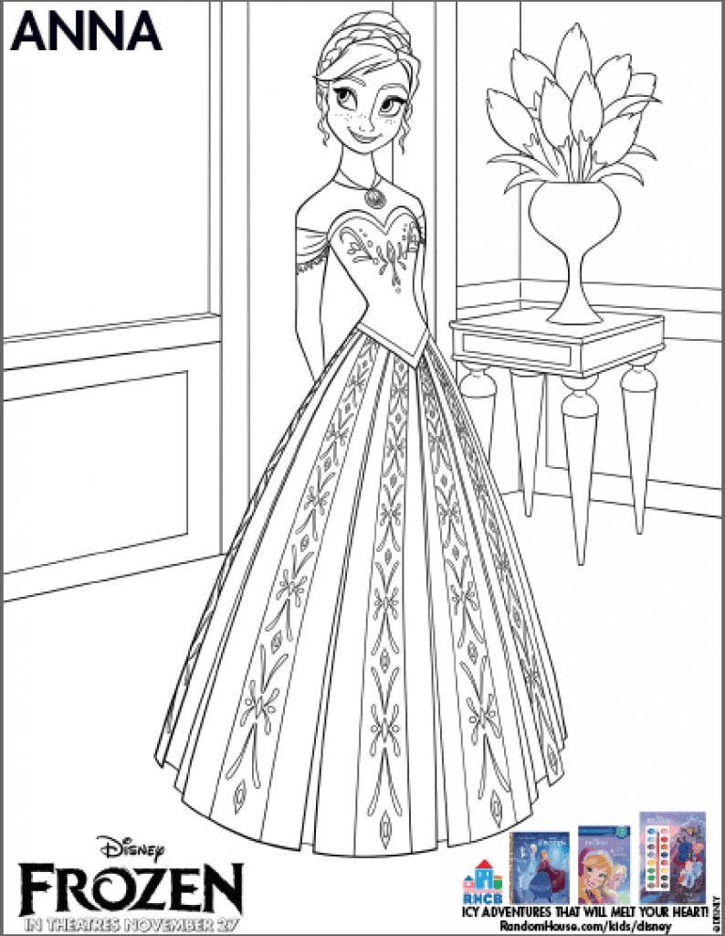 Free Anna coloring page from Frozen
