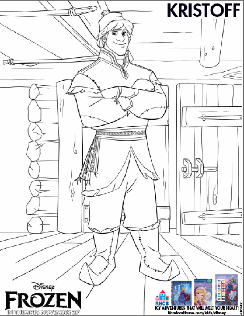 Free Kristoff from Frozen printable coloring sheet