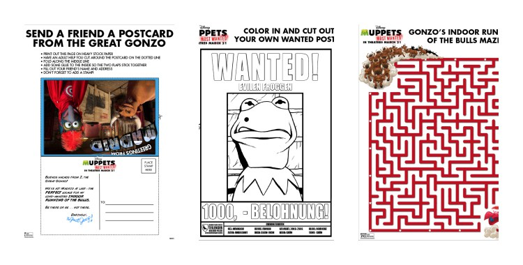 New Muppets Most Wanted Printable activities