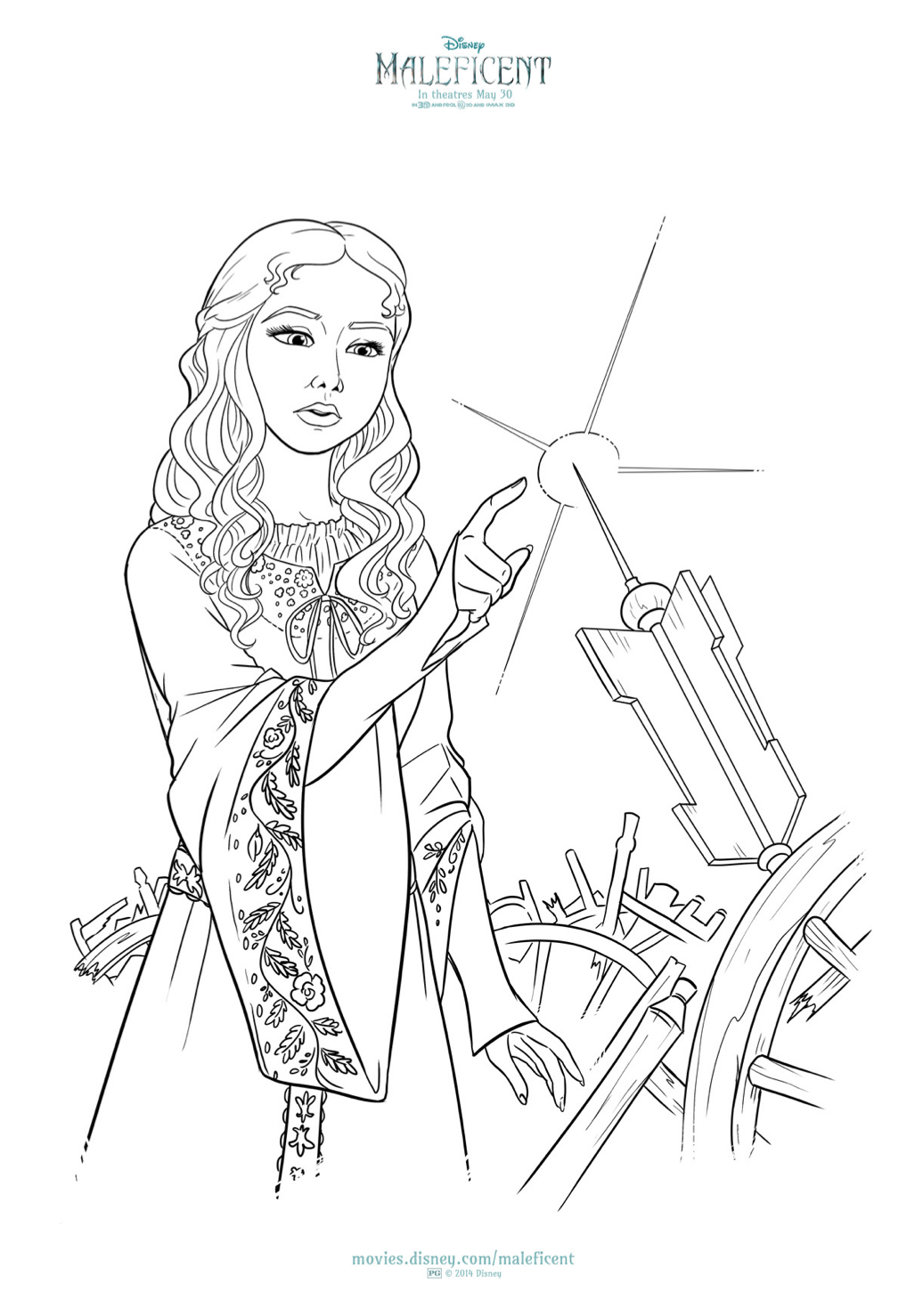 free maleficent and aurora coloring sheets