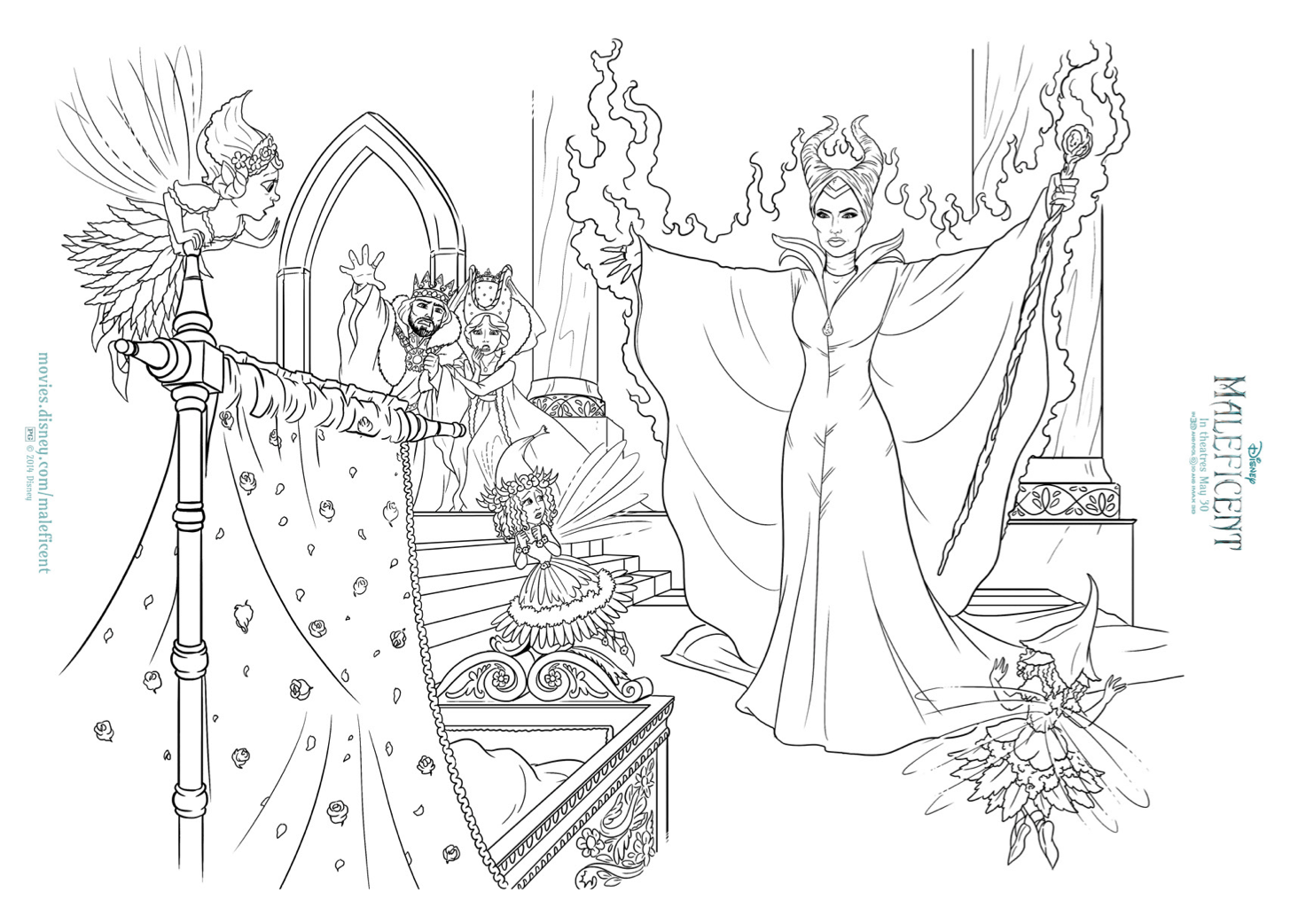 Free Maleficent and Aurora coloring sheets - Hispana Global