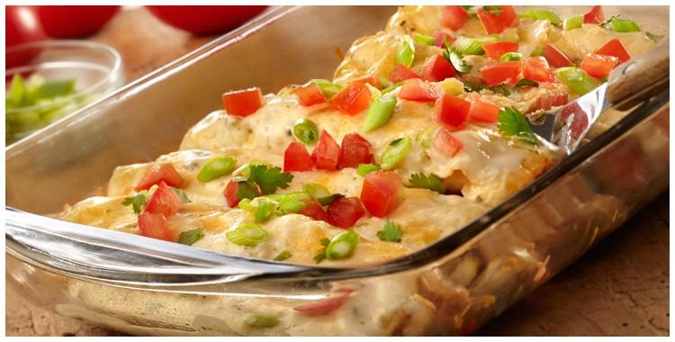 Creamy chicken enchiladas with poblano cheese