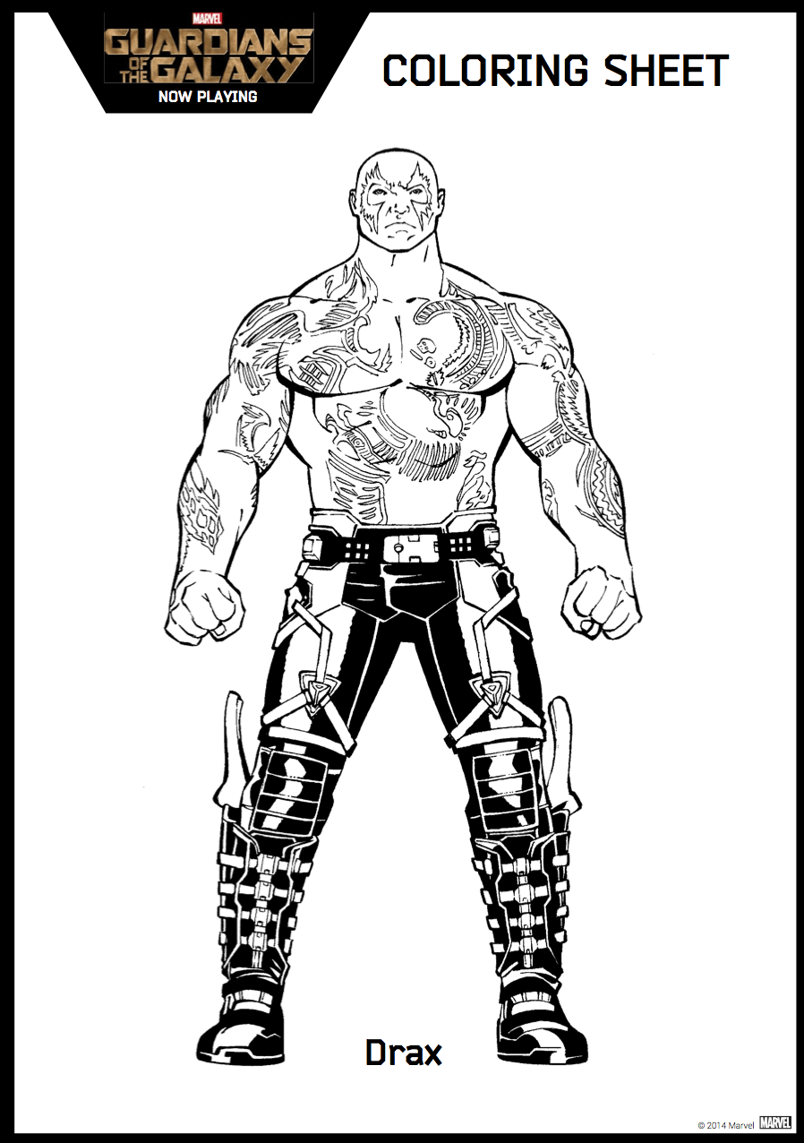 Guardians of Galaxy - Free printable Coloring pages for kids | 1276x898