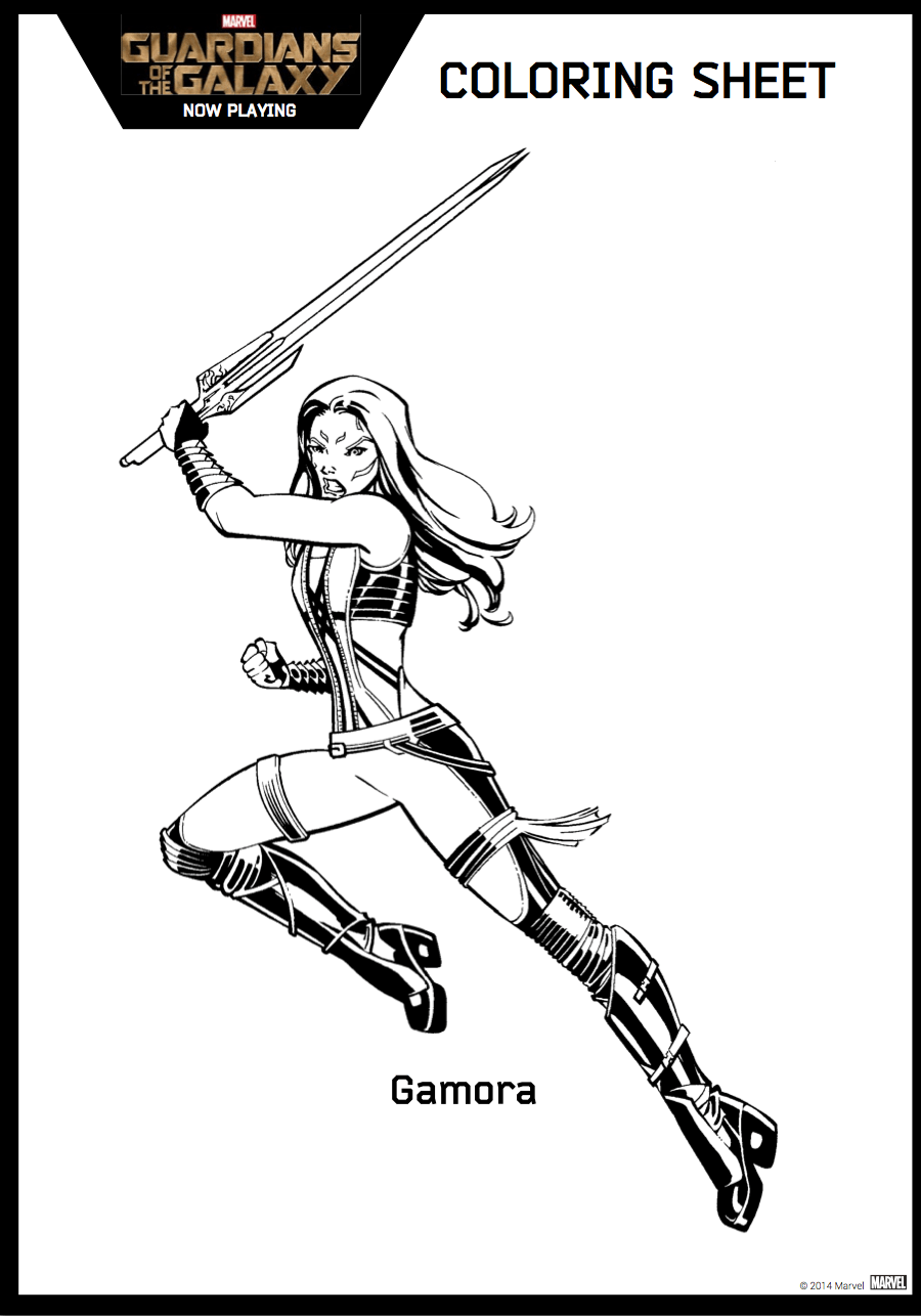 Coloring Pages Guardians Of The Galaxy : Guardians of the galaxy coloring sheet gamora hispana global