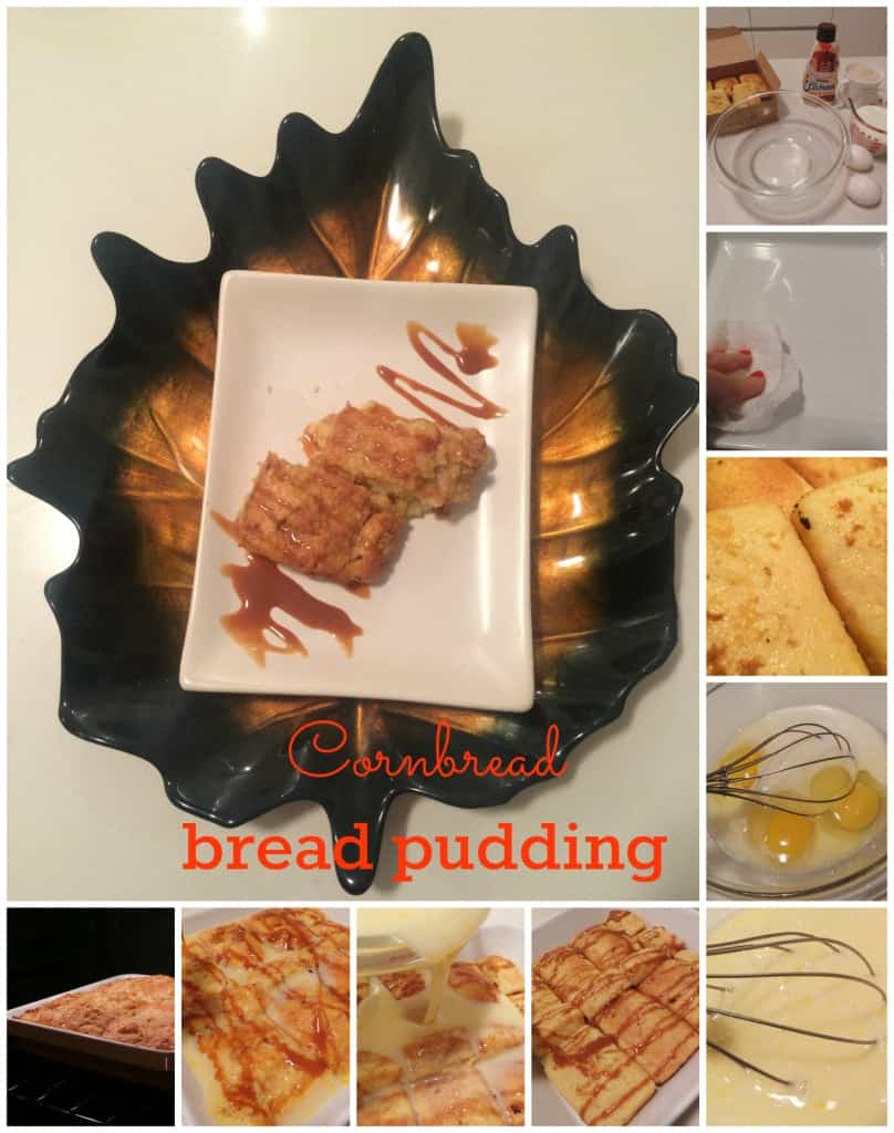 Cornbread bread pudding collage