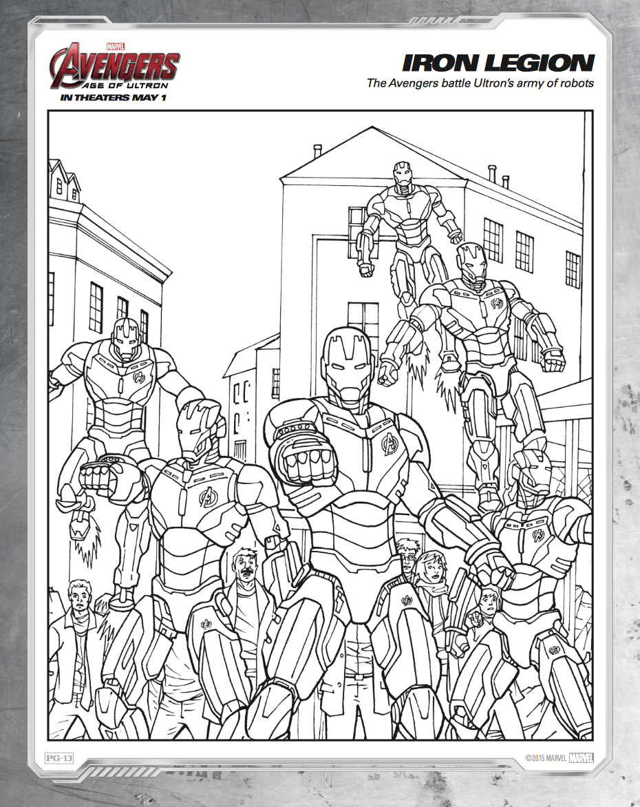 Free printable Avengers: Age of Ultron coloring sheets - Hispana Global