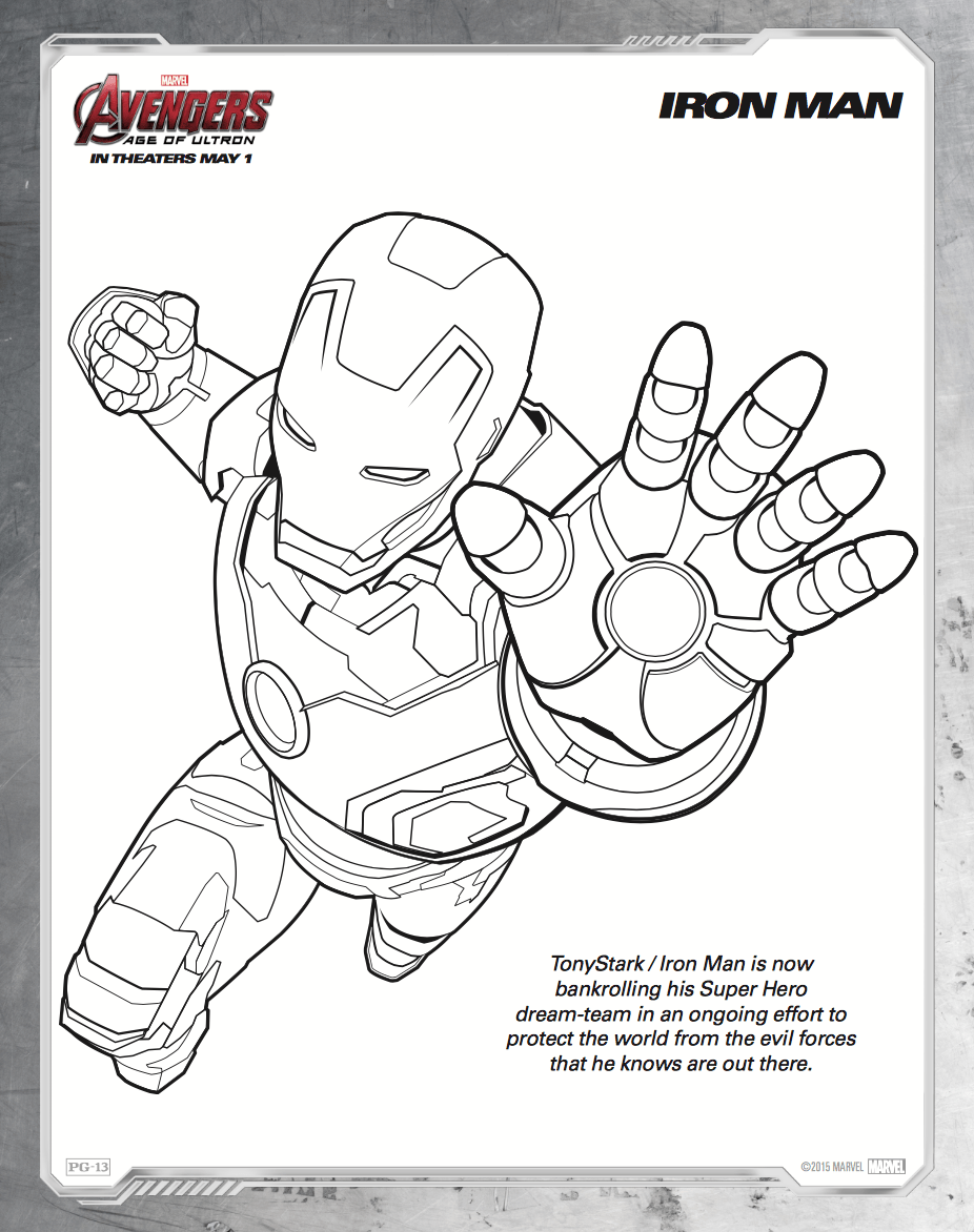 Coloring pages iron man printable
