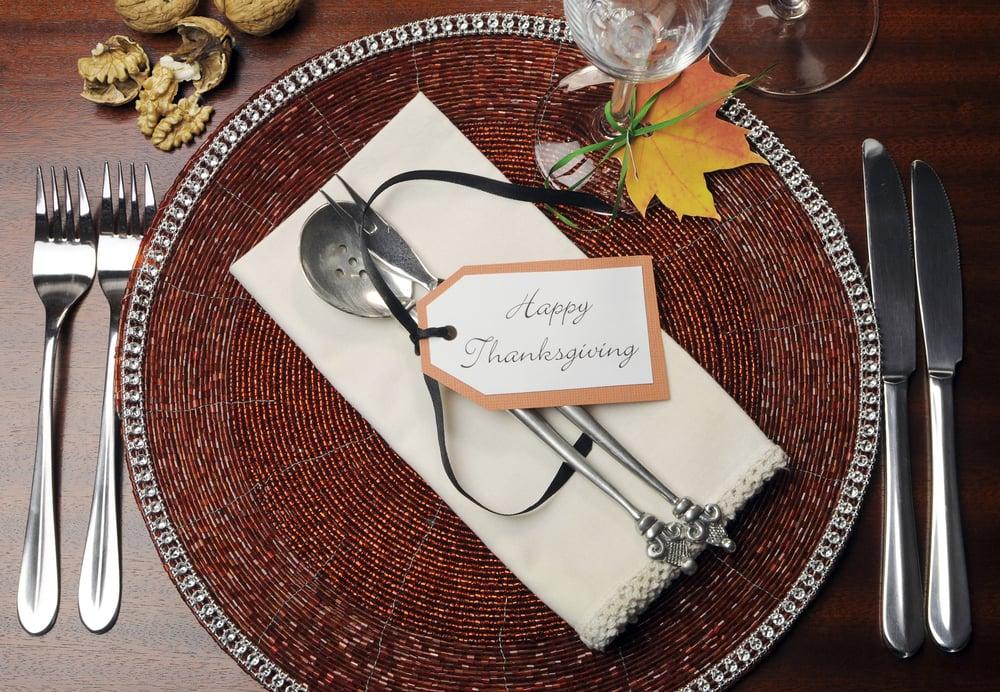 Happy Thanksgiving table mesa de accion de gracias