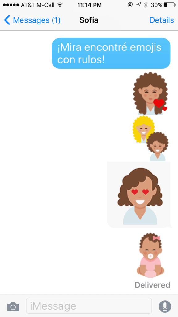 Text with curly hair emojis