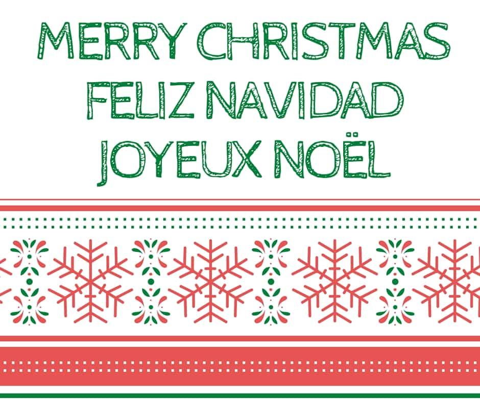 Merry Christmas Feliz Navidad Joyeux Noel TRIlingual card - Hispana ...