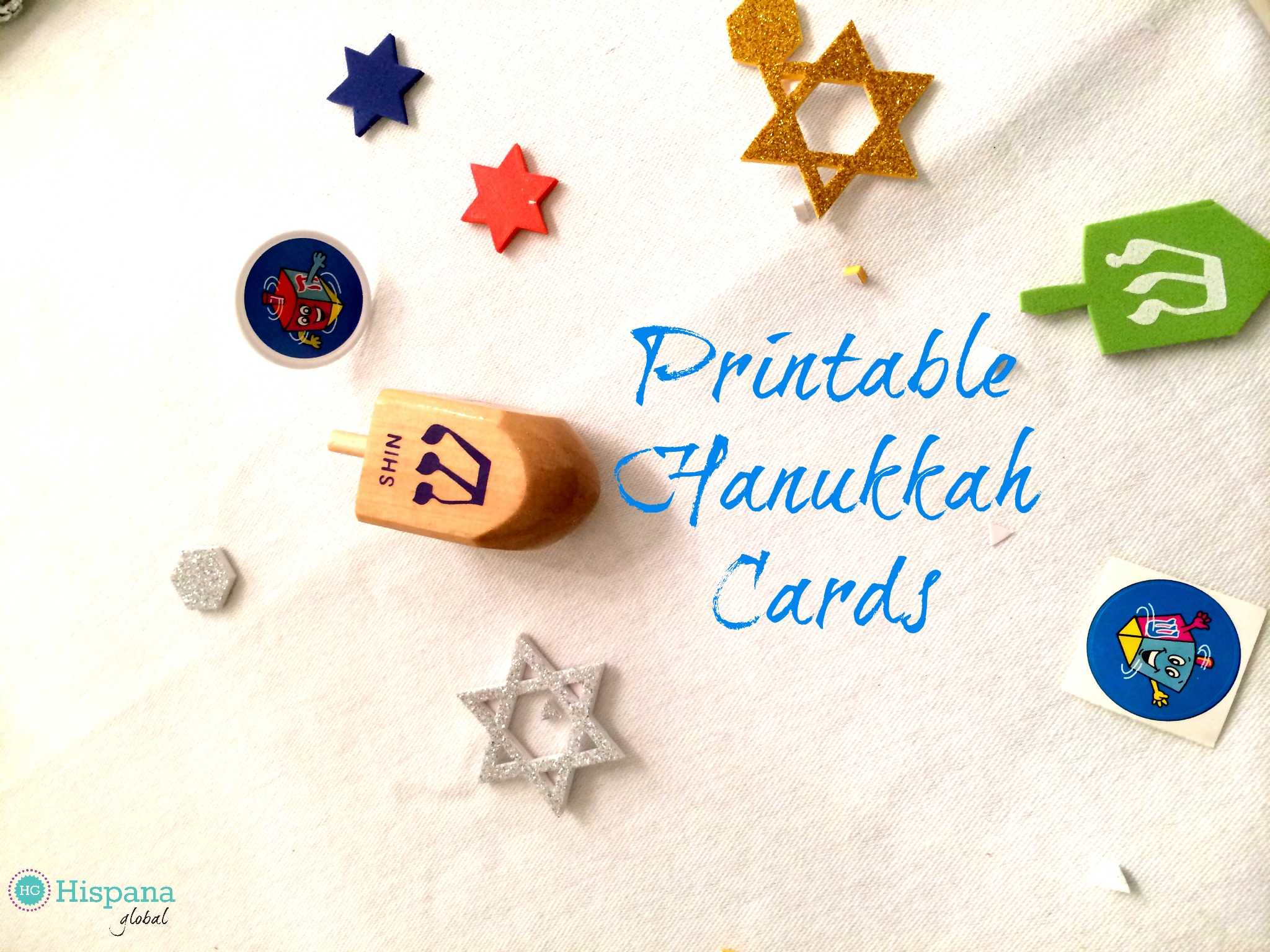 This is a picture of Striking Printable Hanukkah Cards
