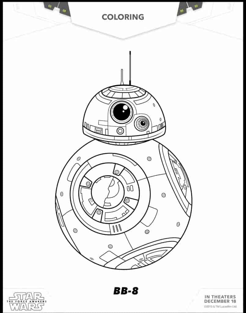 BB-8 free printable coloring sheet from Star Wars The Force Awakens