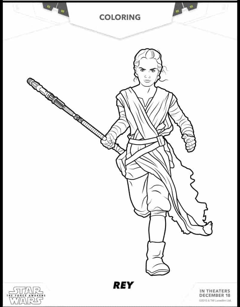 Rey free Star Wars coloring sheets