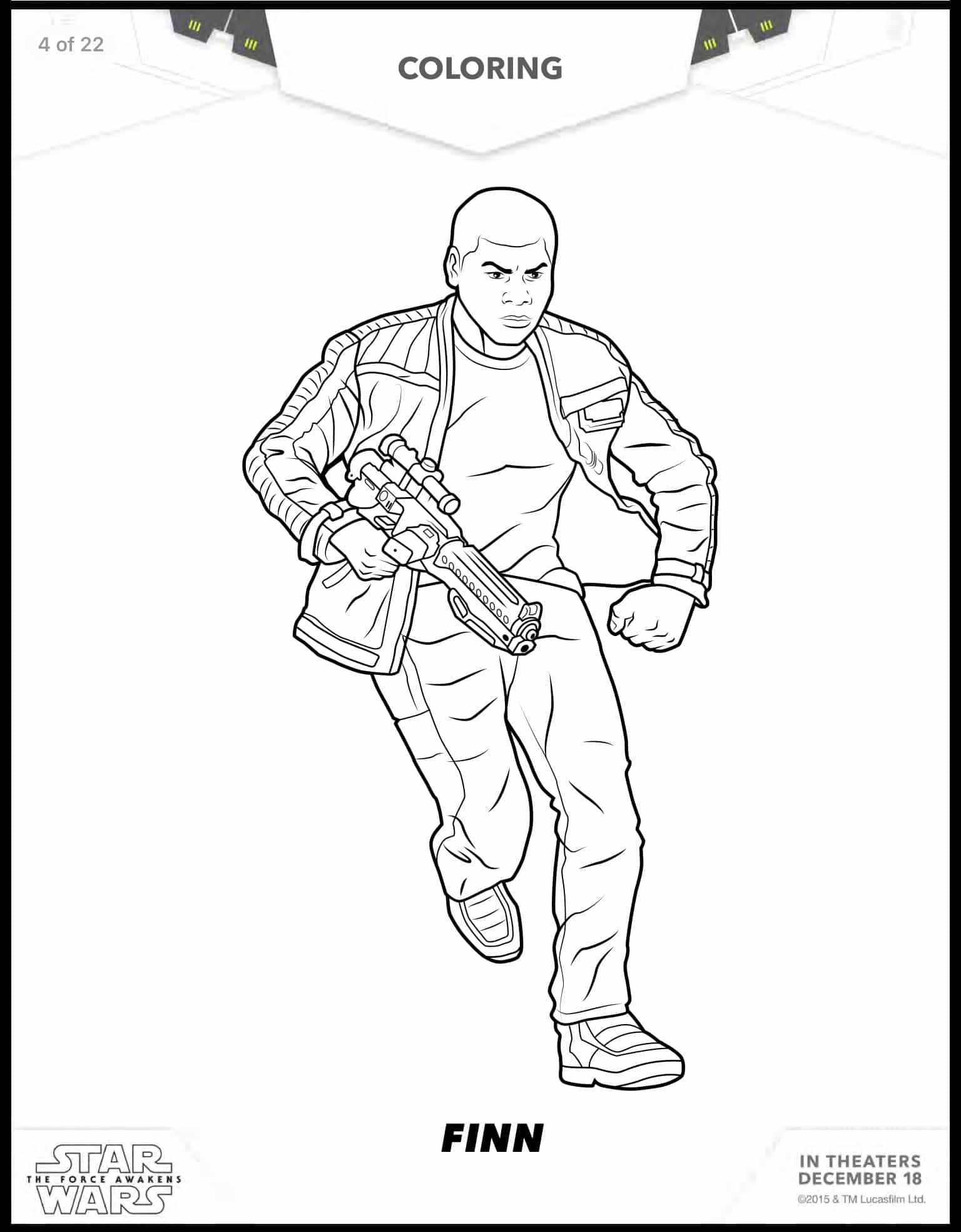 Coloring pages star wars kylo ren - Finn Free Printable Star Wars Coloring Sheets