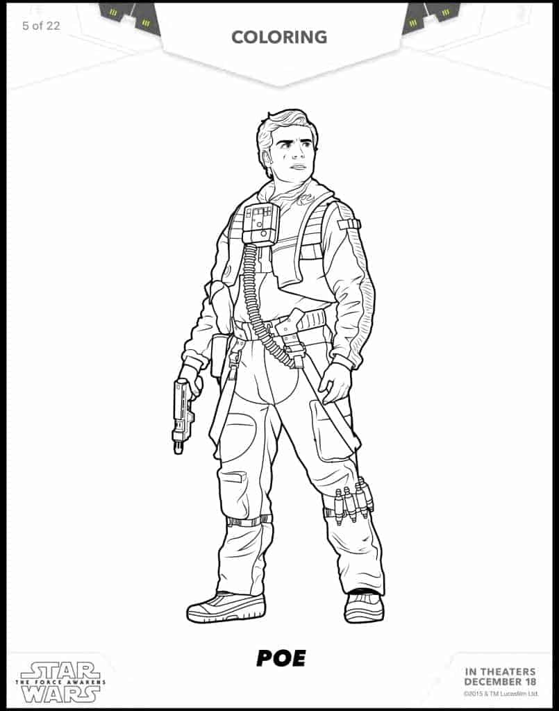 Poe free Star Wars coloring sheets