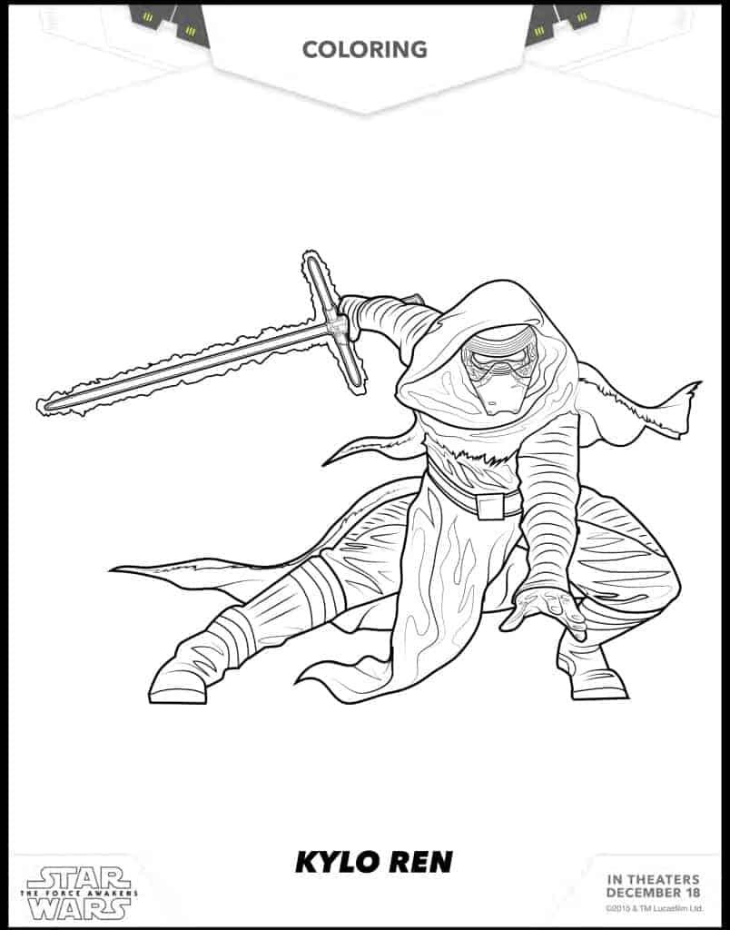 Kylo Ren free coloring sheet Star Wars