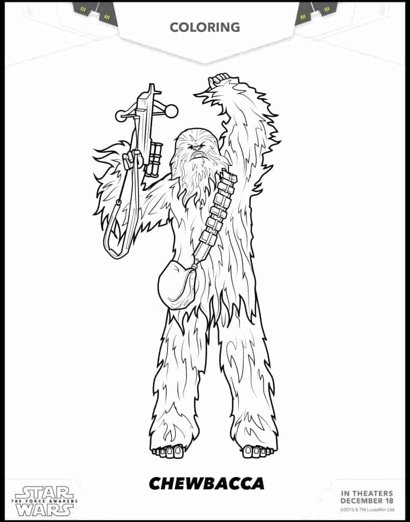 Chewbacca printable coloring sheets Star Wars