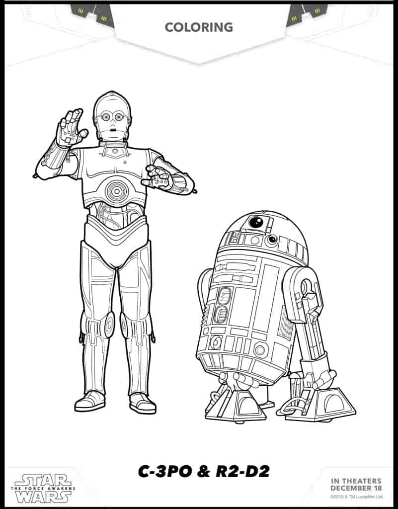 C-3PO and R2 D2 free coloring sheets Star Wars