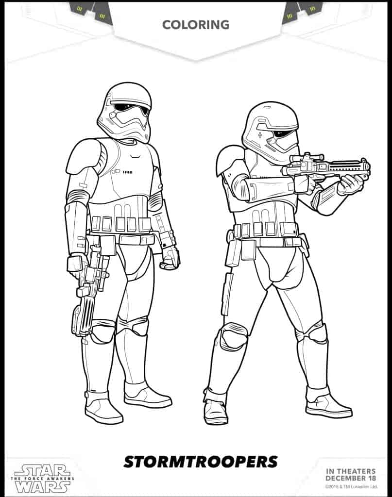 Stormtroppers free coloring sheets Star Wars