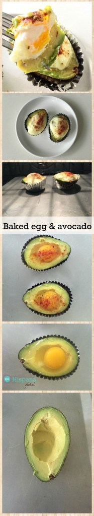 Preheat oven to 425° F (218º C). Cut a ripe Haas avocado in half and discard the pit. Scoop out a bit of the avocado with a spoon so you can put the egg inside. Put each half over a baking sheet. I also used a muffin cup for each half to prevent spills. Sprinkle salt over each avocado. Add one raw egg to each avocado and then season with salt and pepper. Add cayenne pepper, paprika or chili powder. Bake for 17 to 20 minutes (depends on your oven and how cooked and firm you prefer eggs).