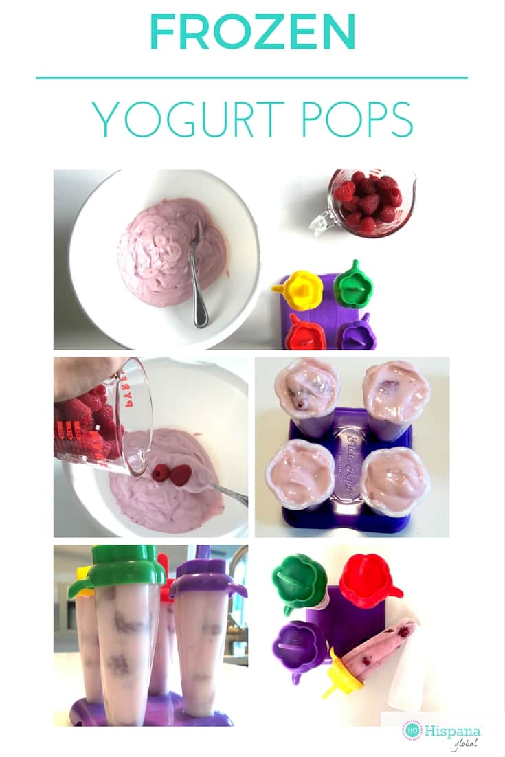 Healthy and delicious snack: frozen yogurt pops with fresh fruit