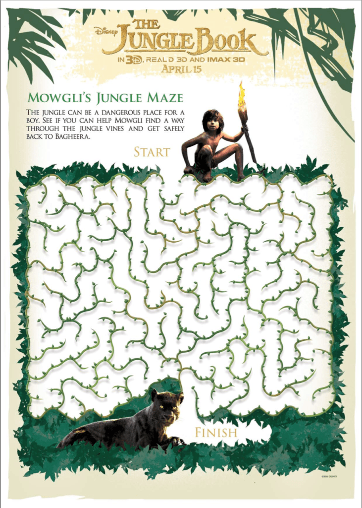 The Jungle Book Maze Activity Printable Sheet
