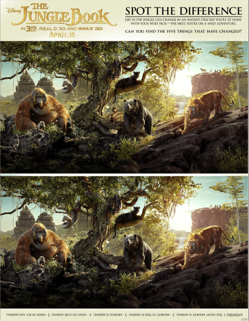 The Jungle Book spot the difference activity sheet