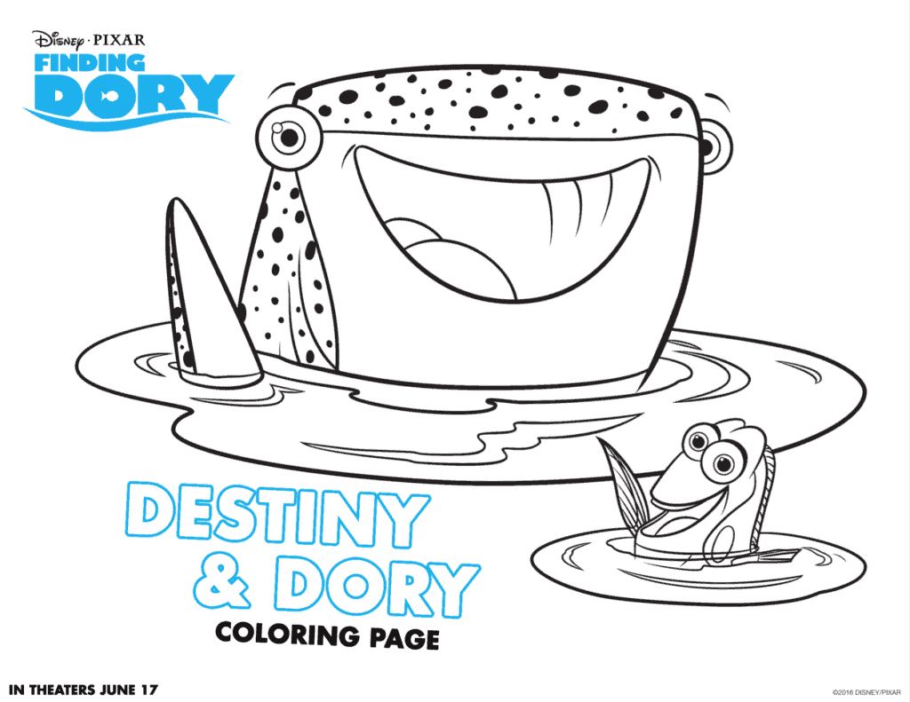 Destiny and Dory Coloring sheet