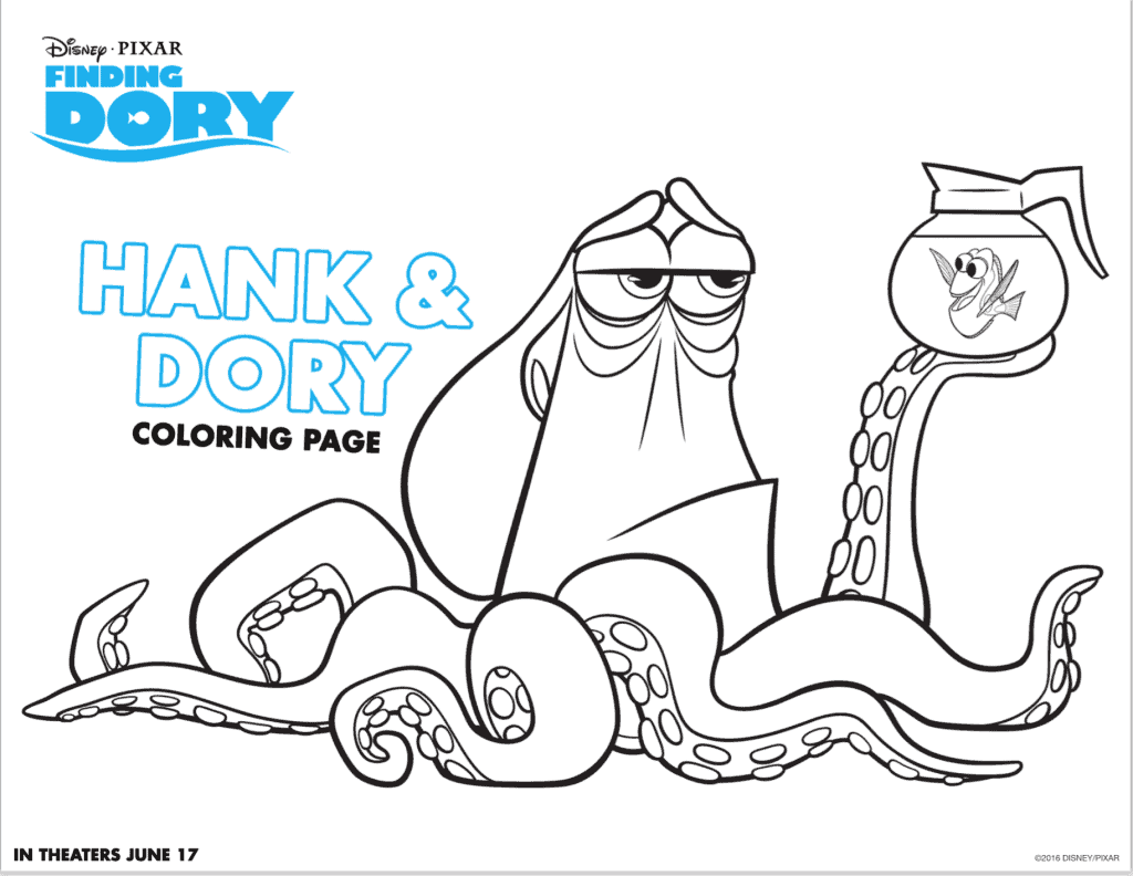 Hank and Dory coloring sheet