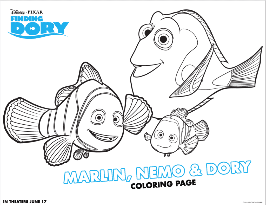 Marlin Nemo and Dory Coloring Sheet
