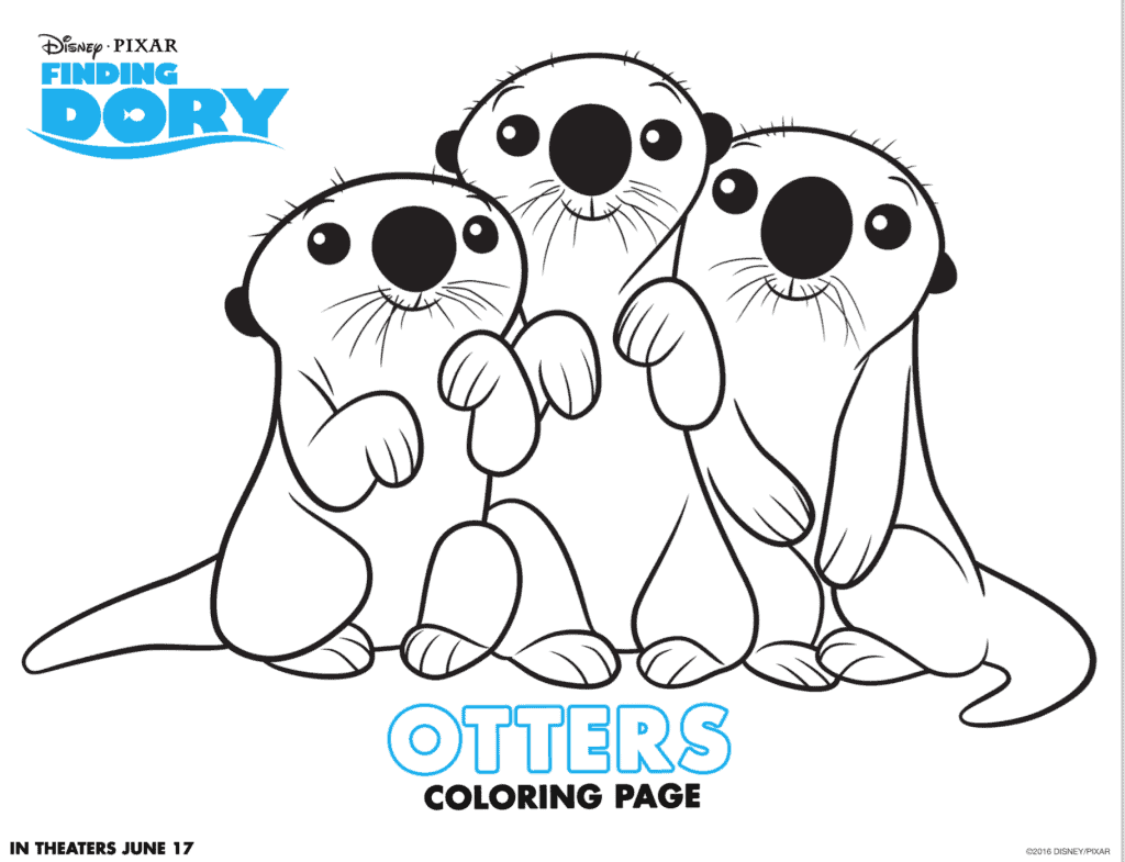otters from Finding Dory coloring sheet printable