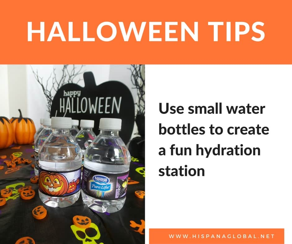 Halloween tips: create a fun hydration station with small water bottles
