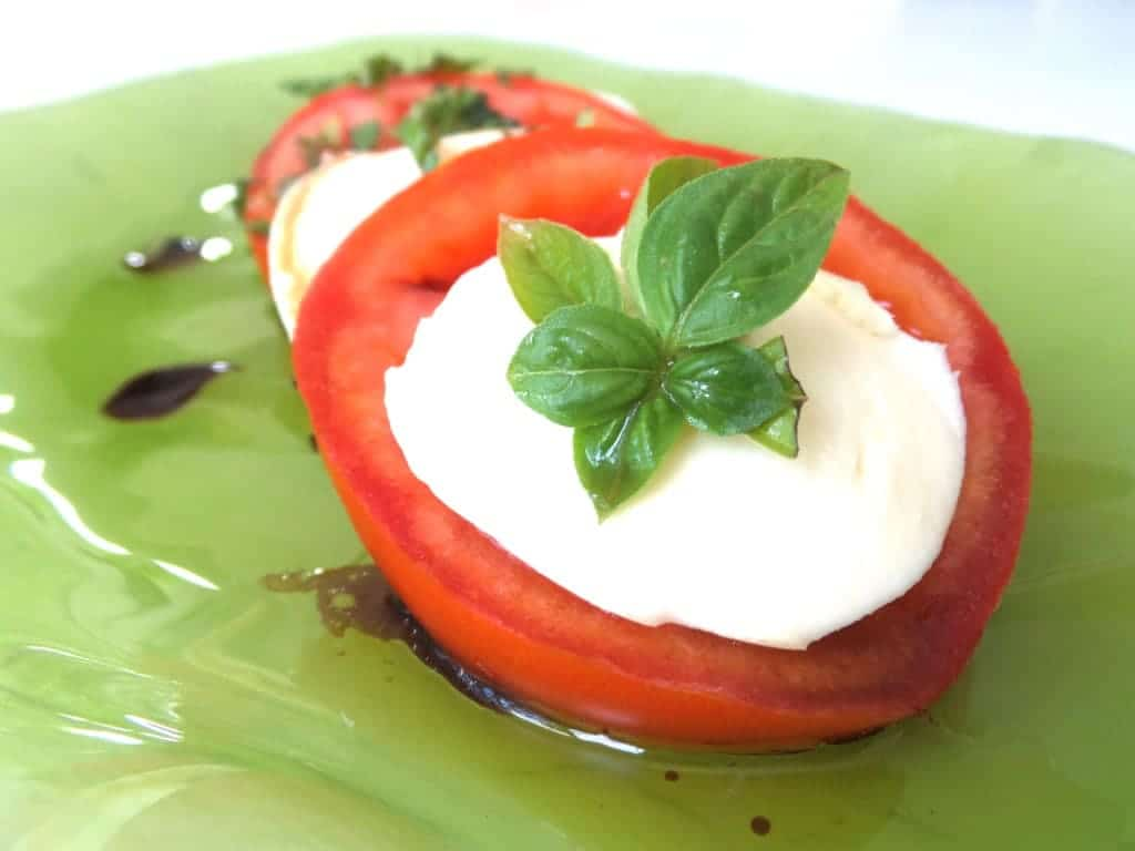 mozzarella caprese salad with fresh basil