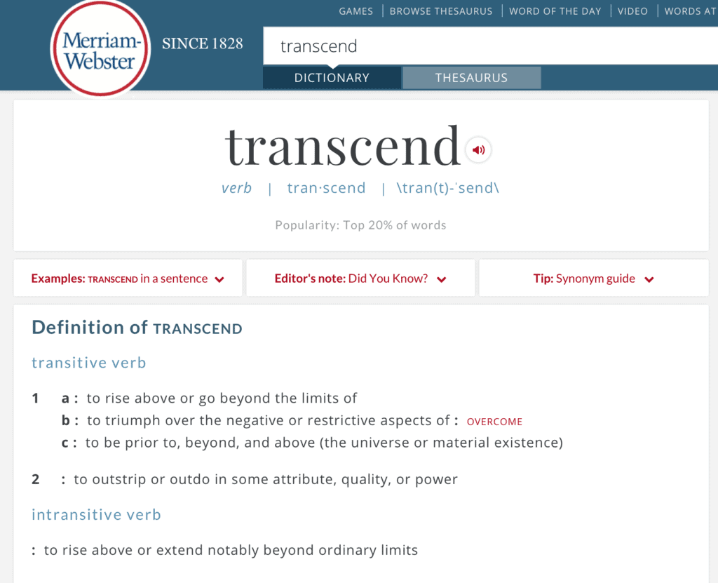 Transcend is the one word I chose for 2017