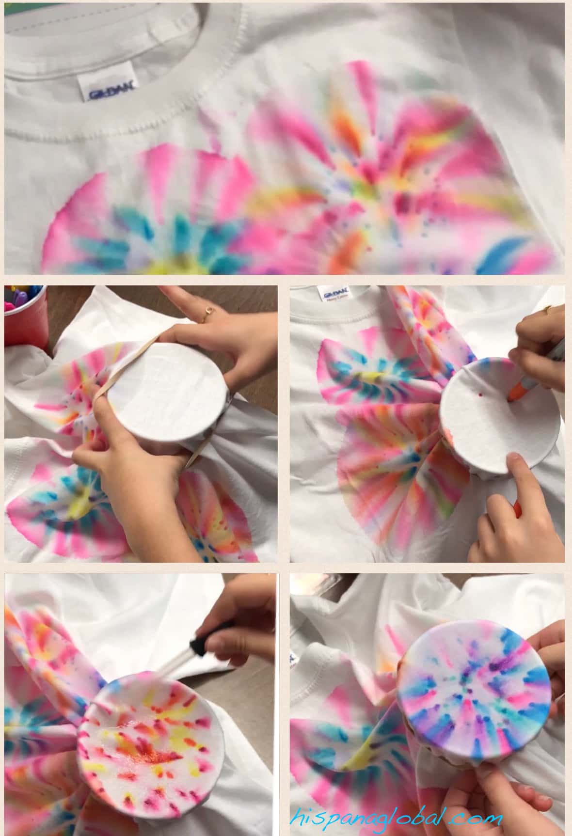 Steps for how to make tie-dye shirts with markers and rubbing alcohol.