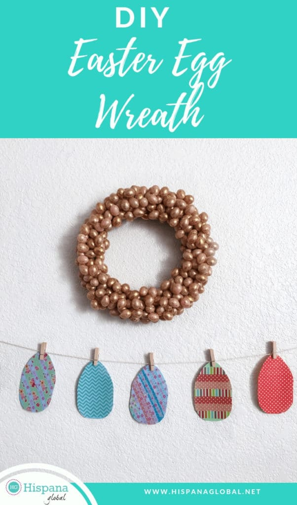 This simple, inexpensive and beautiful Easter egg wreath DIY is so easy to make!