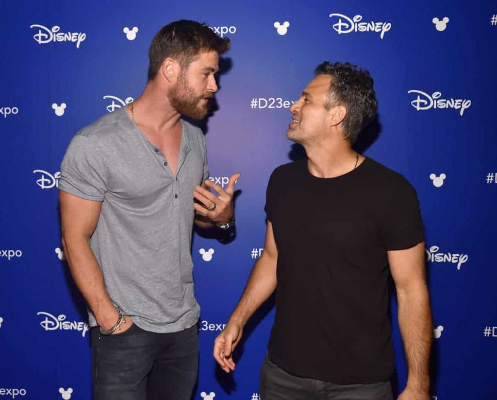 Chris Hemsworth (L) and Mark Ruffalo of AVENGERS: INFINITY WAR