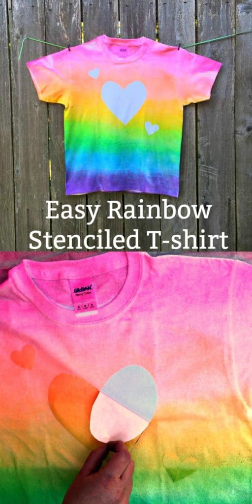 Easy DIY Rainbow Stenciled T-shirt Craft
