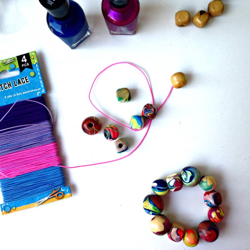 Nail Polish Marbled Beads & Bracelet DIY Craft Tutorial