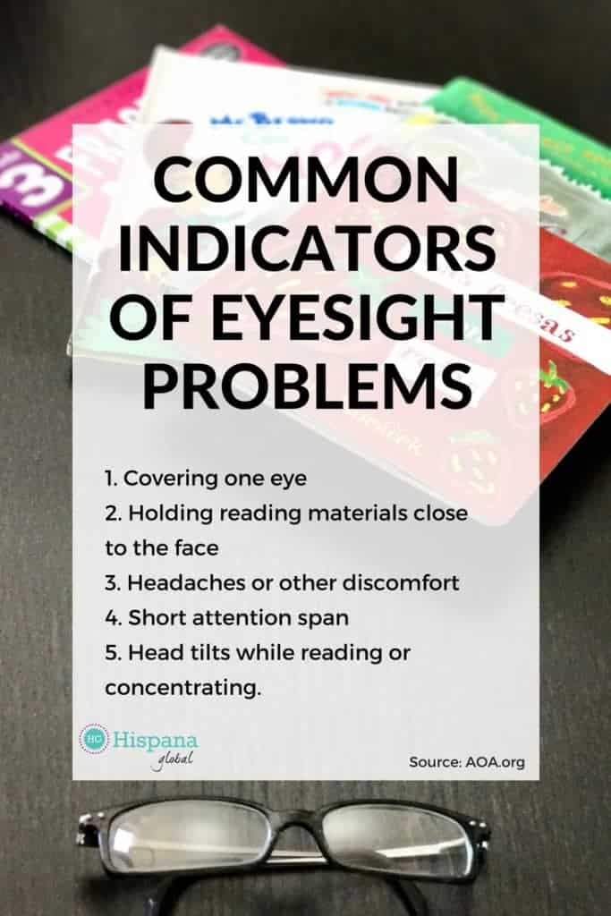 Common indicators of eyesight problems