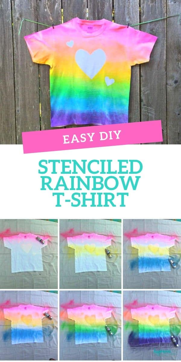 This easy stenciled rainbow t-shirt is a cute DIY project that's perfect to keep kids entertained during the summer months.