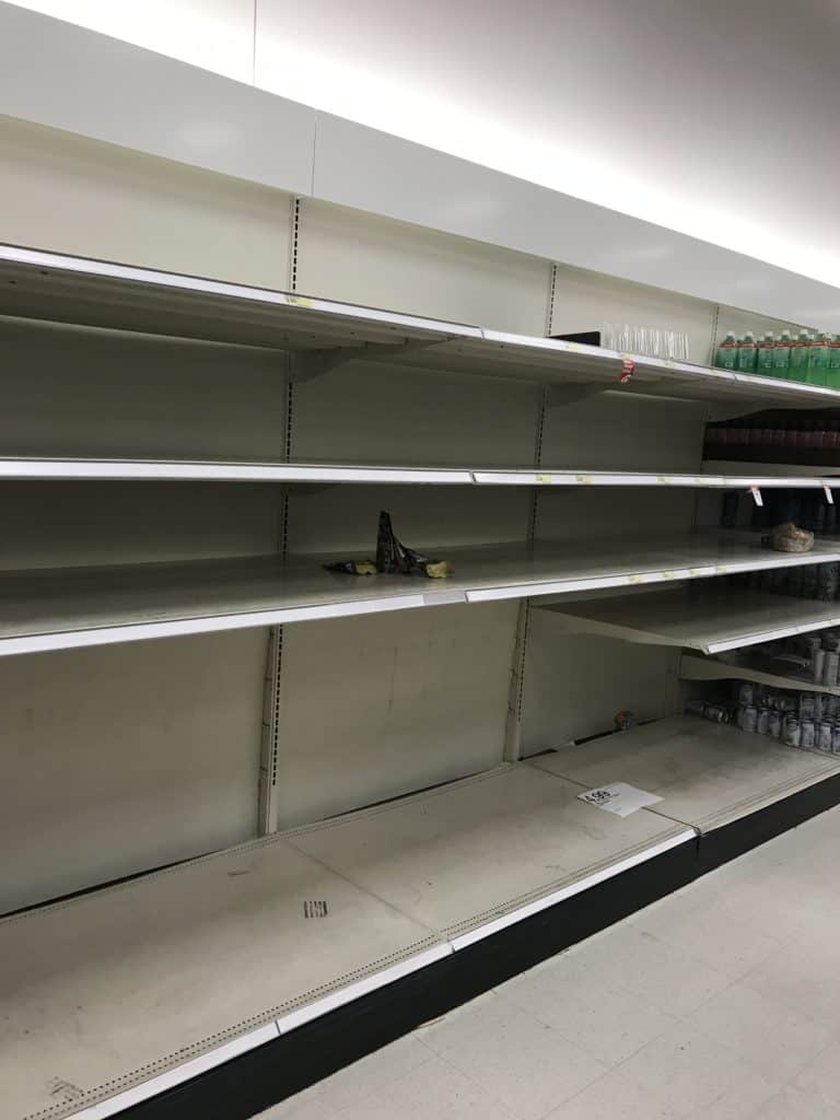 Empty shelves when people braced for hurricane Irma in Florida