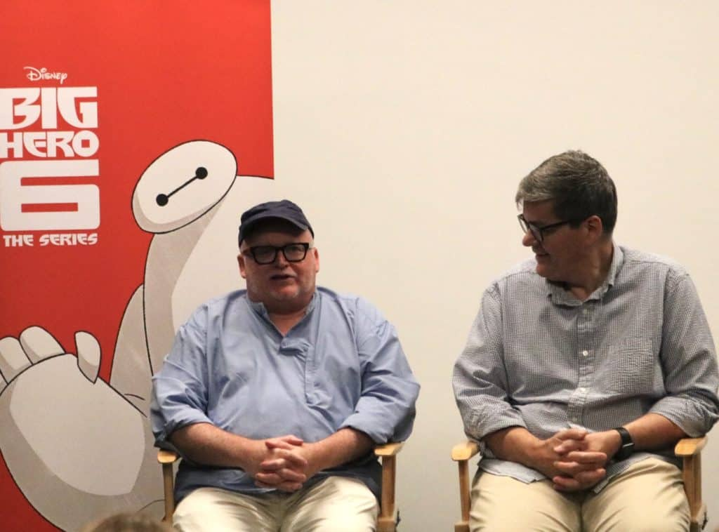Big Hero 6 executive producers Mark McCorkle, Bob Schooley