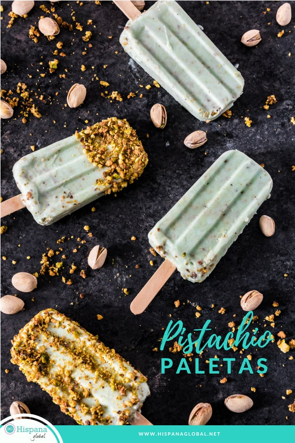 Pistachio and yogurt ice pops or Mexican paletas