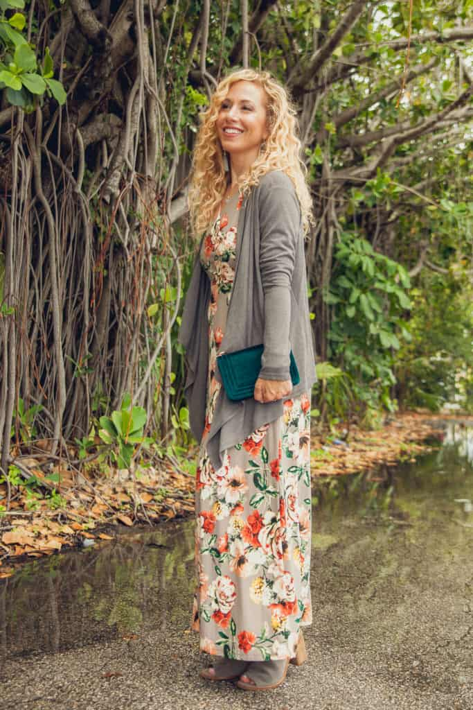 Gray floral dress cardigan and shoes are some Stitch Fix favorites