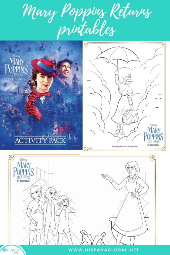 Free Mary Poppins Returns colorings sheets and printables