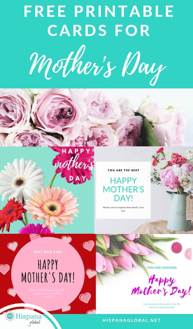 Free printable Mother's day card in both English and Spanish.